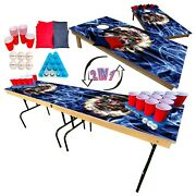 2-in-1 Cornhole And Beer Pong Table Set -minnesota State Flag Tailgate Party Set