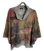 Inoah Multi-colored Cowl Neck Oversized Cropped Top Size Small
