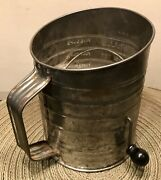 Vintage Antique Large 5 Cups Bromwell's Measuring Red Wood Handle Flour Sifter