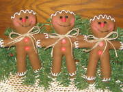 Country Christmas Home Decor 3 Gingerbread Dolls Bowl Fillers Wreath Accents