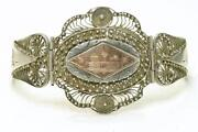 Antique Asian Sterling Silver And Gold Filigree Wide Ladies Bracelet Circa 1945