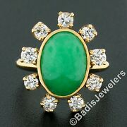 Vintage 14k Gold Oval Cabochon Jade And 1.1ct European Diamond Halo Cocktail Ring