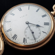 Elgin Solid 10 Ct Yellow Gold C/1913 Pocket Fob Watch 9022