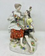 Antique 19th Germany Rare Meissen Figurine Group Of Gardeners Marked 185cm