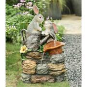 Resin Bunny Friends Outdoor Fountain With Led Light