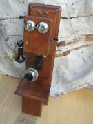 Antique Vintage Western Electric Type 21 Walnut Wood Double Box Wall Telephone
