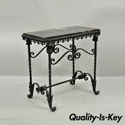 Antique French Art Nouveau Wrought Iron Black Marble Top Small Accent Side Table