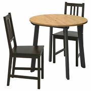 Ikea Gamlared/stefan Table And 2 Chairs Ø85 Cm Light Antique Stain/brown-black