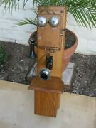 Antique Vintage Western Electric Type 240a Oak Wood Double Box Wall Telephone