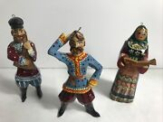 Lot Of 3 Russian Christmas Ornaments Carved Painted Cossack Dancer And Musicians