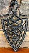Vintage Cast Iron Trivet Adams Marked 9-19 Crossed Canons Canon Balls And Swords