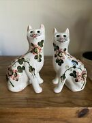 Pair Of Vintage Griselda Hill Pottery Wemyss Cat Floral Painted Figurines