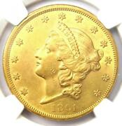 1861 Liberty Gold Double Eagle 20 Coin - Ngc Uncirculated Details Unc Ms