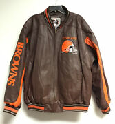 Cleveland Browns Leather Jacket Size Xxl 58 Sports Coat Nfl Zip Front