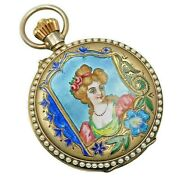 1900and039s Swiss Made Victorian Enamelled - Rego - Sterling Silver Pocket Watch Sr