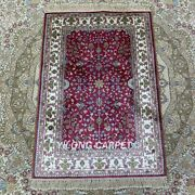 2and039x3and039 Pink Handknotted Silk Rug All Over Easy To Clean Traditional Carpet Hf122b
