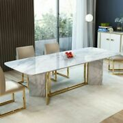 71/79 Modern Rectangular Faux Marble Dining Table Kitchen Home Furniture Gold