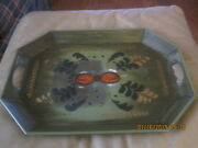 Metal Tole Serving Tray Fruit Hand Painted  Green Large 18 X 13