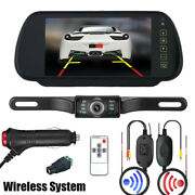 Wireless Car Backup Camera Rear View System Night Vision With 7 Mirror Monitor