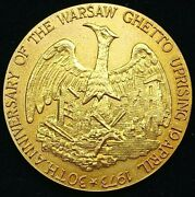 1973 30th Ann. Of The Warsaw Ghetto Uprising 14k Gold Medal W/ Coa