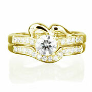 1.3 Ct Real Round Cut W Side Stones Diamond 18k Yellow Gold Engagement Ring Set