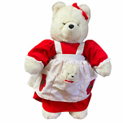Mama Jingle Bear Weinstock's With Baby Red Dress White Apron Holiday Christmas