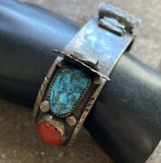 Vintage Old Pawn Native Sterling Silver Turquoise Coral Watch Cuff Bracelet.