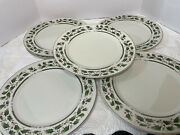 Vintage Lot 7 Royal Limited Holly Holiday Gold A Trim Dinner Plates