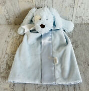 Mud Pie Security Blanket Puppy Dog Blue Baby Lovey White Ribbon