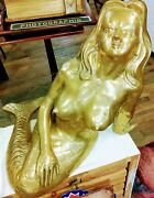 Rare-vintage Xl Nude Brass Mermaid Sculpture Artisan Statue Bust Hand Crafted