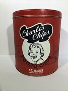 Vintage Red Charles Chips Commemorative Potato Chip Tin