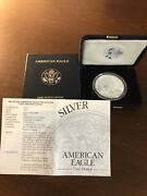 2003-w American Eagle 1 Ounce Silver Proof Coin With Box And Coa.
