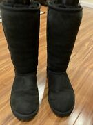 Uggs Australia Women Classic Tall 5815 Black Suede Boots Us Size 7.