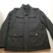 Dockers Menand039s Wool Blend Military Style Field Jacket Color Dark Gray Size M