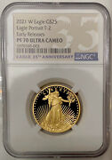 2021 W T-2 Gold Proof 1/2 Oz American Eagle 25 Coin Ngc Pf 70 Uc Early Releases