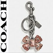 Coach Pink Crystal Bow Key Ring Bag Charm With Coach Cloth Sack 35256 Msrp 145