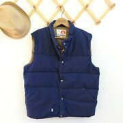 Vintage 70and039s Menand039s Puffer Vest Size Xl Navy Blue Himalayan Polarguard Snap Front