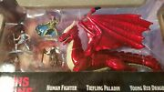 New Jada Toys Dungeons And Dragons Die Cast Young Red Dragon And 4 Figures Very Nice