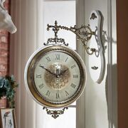 Wall Clock Double Side Silent Vintage Metal Roman Living Room Luxury Home Decor