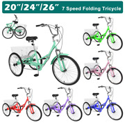 Adult Folding Bikes Tricycle 20/24/26in 3wheel 7-speed Foldable Bicycle W/basket
