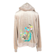 Bcbg Max Azria Plus Size 1x Tan Velour Track Jacket Hooded Embroidered