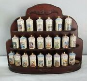 Disney Lenox 24 Spice Canisters With Wooden Display Rack Mint Condition