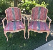 Bergere Occasional Chair Pair French 2 Set Fireside Red Blue Century Furniture