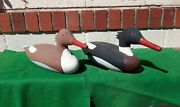 Pair Carved Wooden Hunting Merganser Duck Decoys By Alvin Meekins Signed