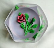 St Louis 1978 Annual Edition Faceted Rose Art Glass Paperweight