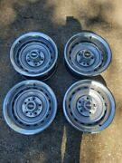 15x7 Chevrolet Gm Rally Set With Centers And Rings 1973-1987