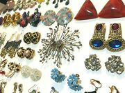 Huge Earrings Lot Vintage To Modern Costume Jewelry 79 Pairs Pierced And Clip-on