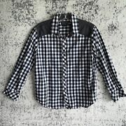 Converse Cons Kids Black White Gingham Checked Long Sleeve Shirt Boys Size 12