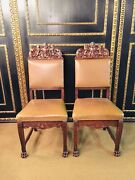 2 Chairs In Neo Rennaicance Style Um 1860 With Carved Crown With Lions Umrahm