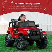 Ride On Truck Car Toy 3 Speeds Led Lights Remote Control Aux Foot Pedal Multi